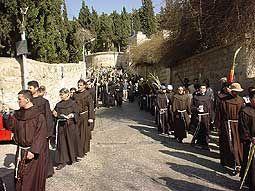 Procesión de Ramos desde Betfage a Jerusalén-
