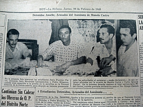 This picture shows four of the 9 participants on the assassination of Manolo Castro in 1948 when I was 9 years old. Manolo Castro was my father. Do you recognize the person in the right of the picture?