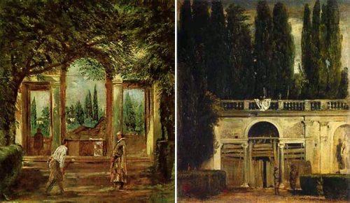 Vistas del jardin de la Villa de Medicis en Roma