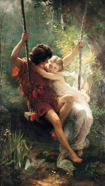 El Columpio Pierre-Auguste Cot (1873)  Painting - oil on canvas