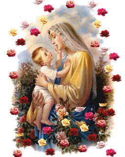 virgen maria rodeada de rosas