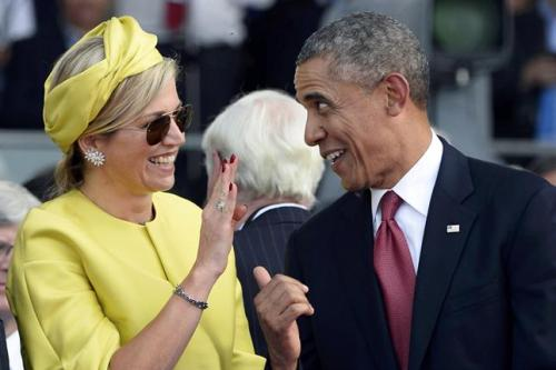 Obama in the 70th anniversary of the D-Day, With Máxima of Holland