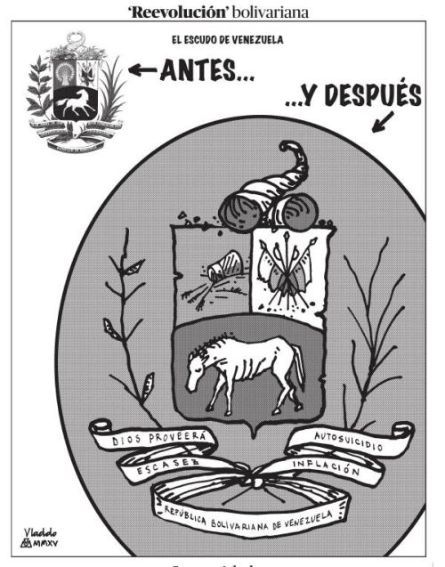 RNV   @RNVcontigo   Seguir  Esta caricatura la publicó @VLADDO y evidencia la burla a los símbolos Patrios de venezuela