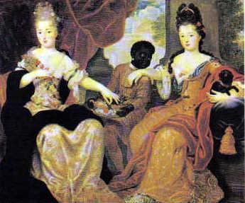 Jóvenes aristócratas con su negrito, pintura de Vignon (Castillo de Versalles)
