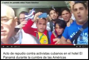Acto de repudio contra activistas cubanos en el hotel El Panamá durante la cumbre de las Américas